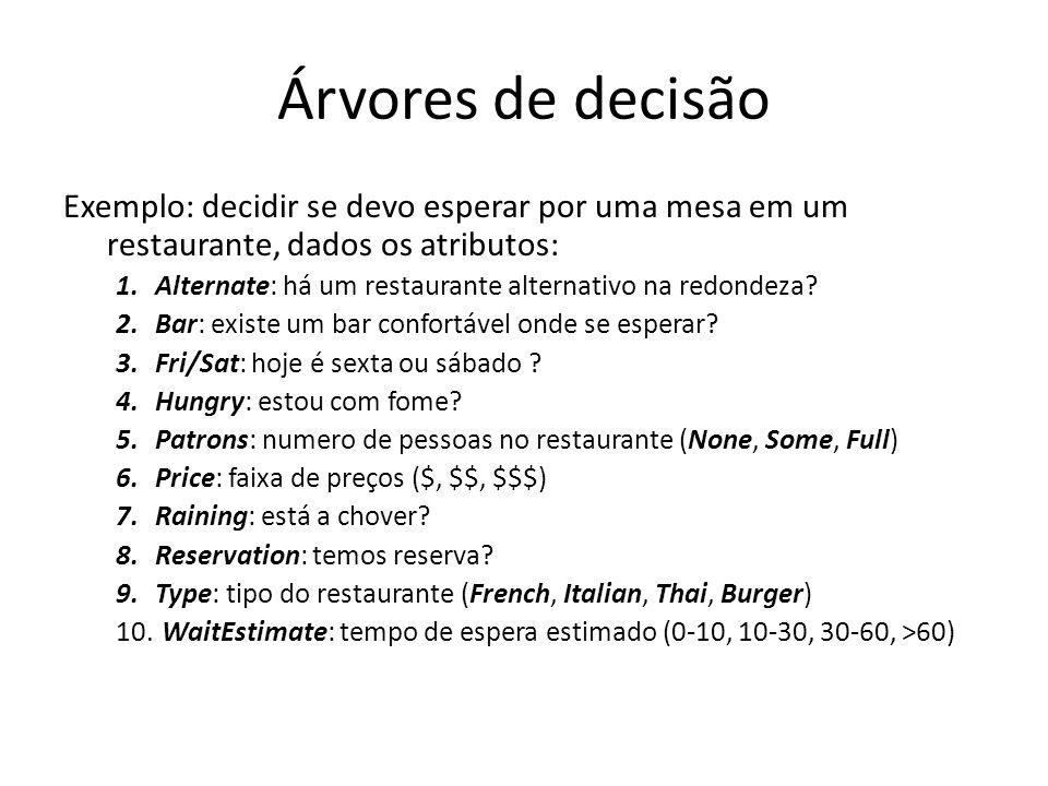 Árvores de decisão Exemplo: decidir se devo esperar por uma mesa em um restaurante, dados os atributos: