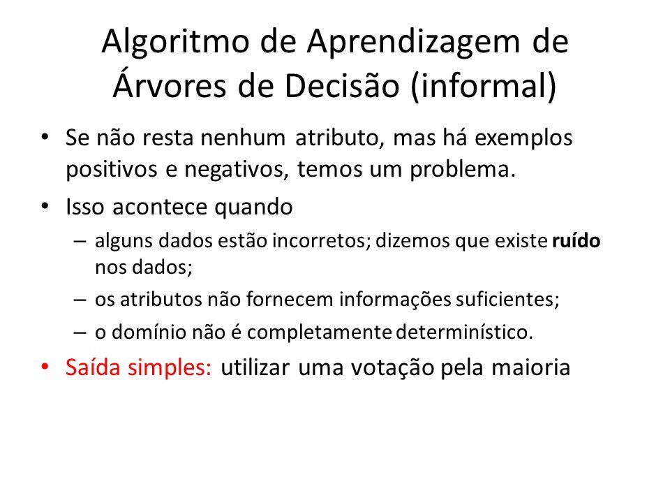 Algoritmo de Aprendizagem de Árvores de Decisão (informal)