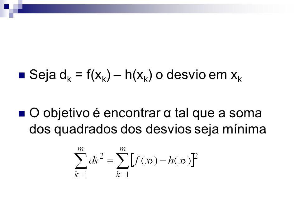 Seja dk = f(xk) – h(xk) o desvio em xk