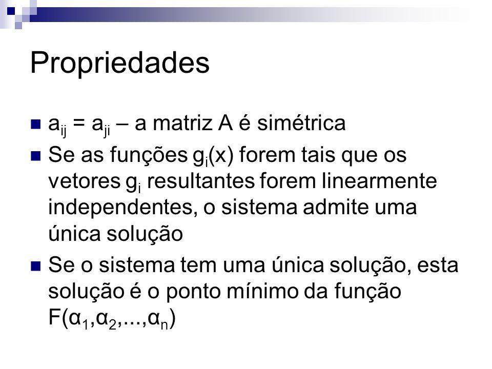Propriedades aij = aji – a matriz A é simétrica