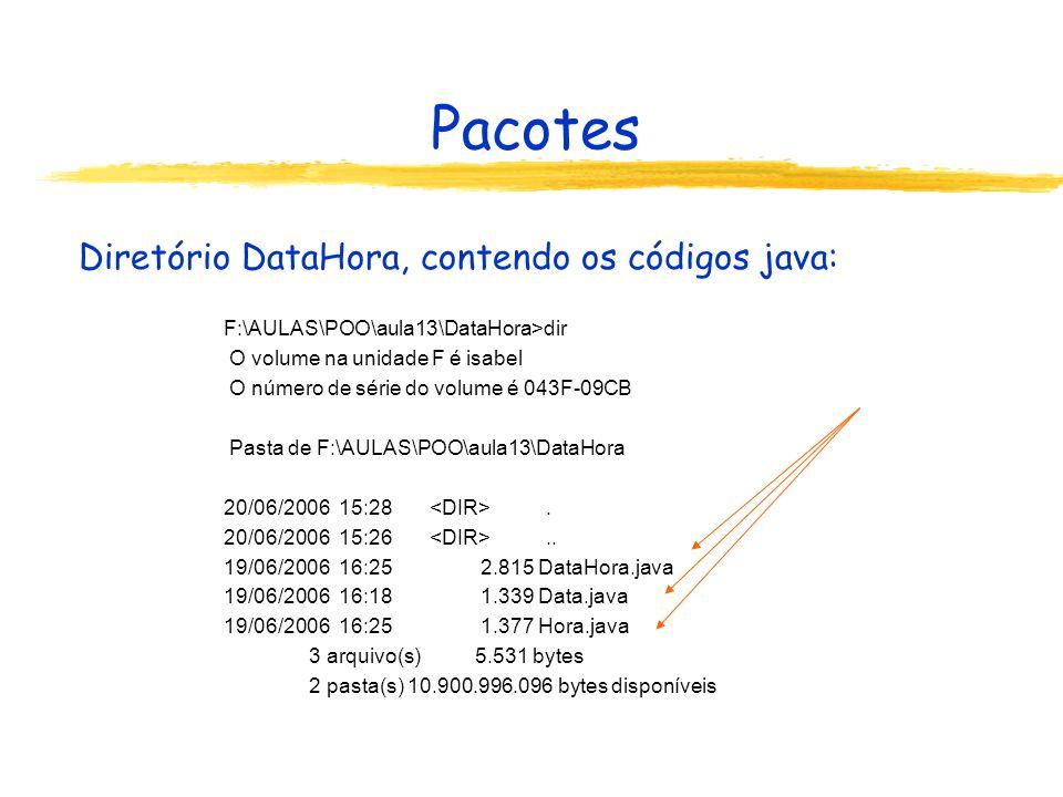 Pacotes Diretório DataHora, contendo os códigos java: