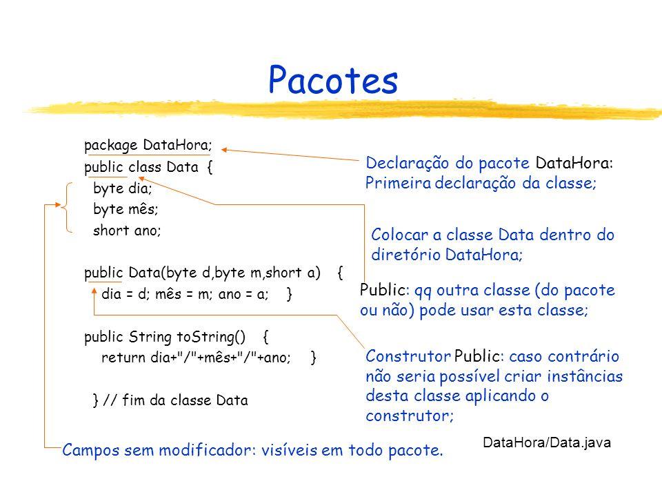 Pacotes Declaração do pacote DataHora: Primeira declaração da classe;