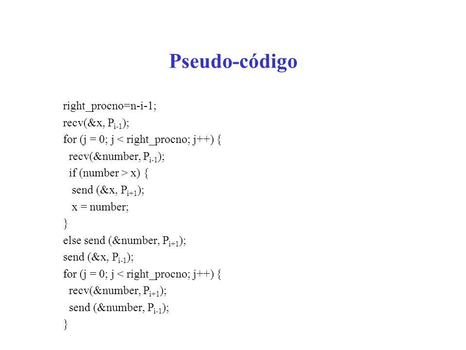 Pseudo-código right_procno=n-i-1; recv(&x, Pi-1);
