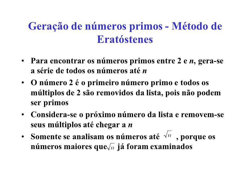 Geração de números primos - Método de Eratóstenes