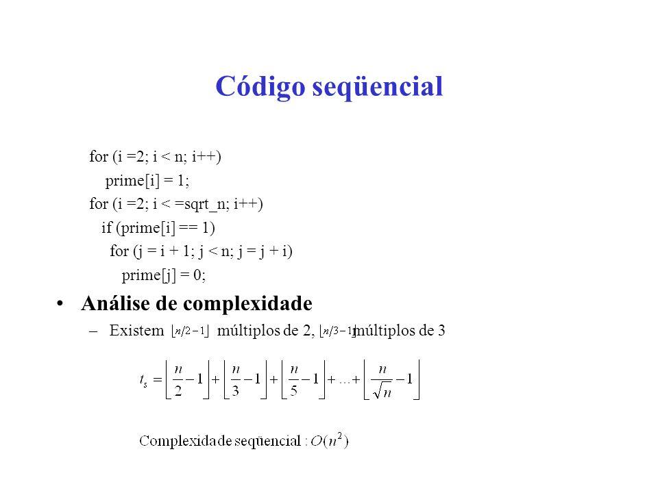 Código seqüencial Análise de complexidade for (i =2; i < n; i++)