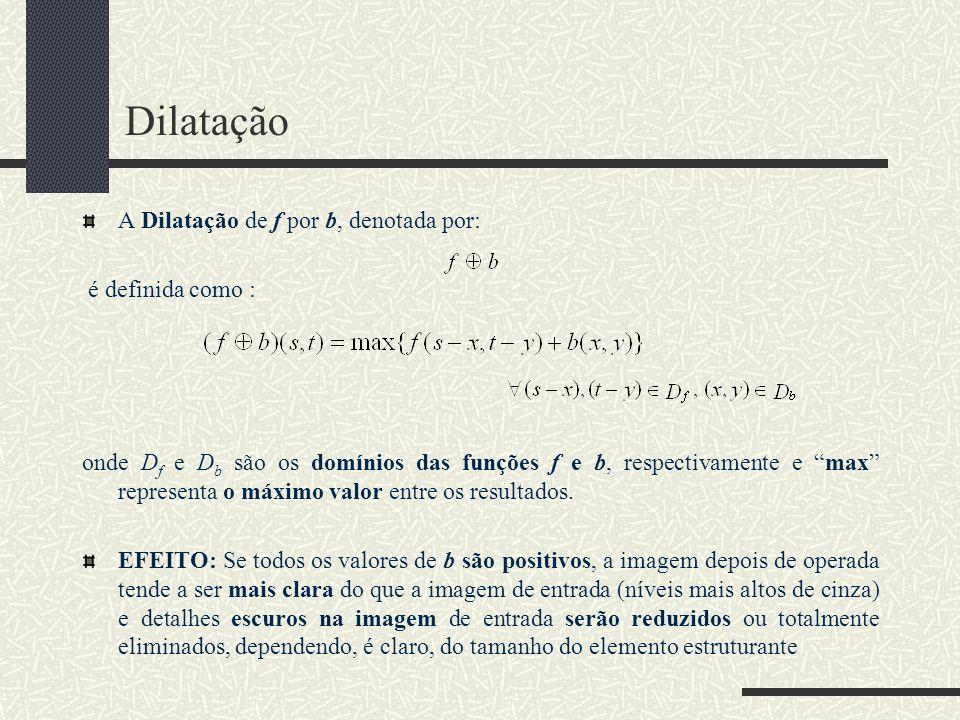 Dilatação A Dilatação de f por b, denotada por: é definida como :