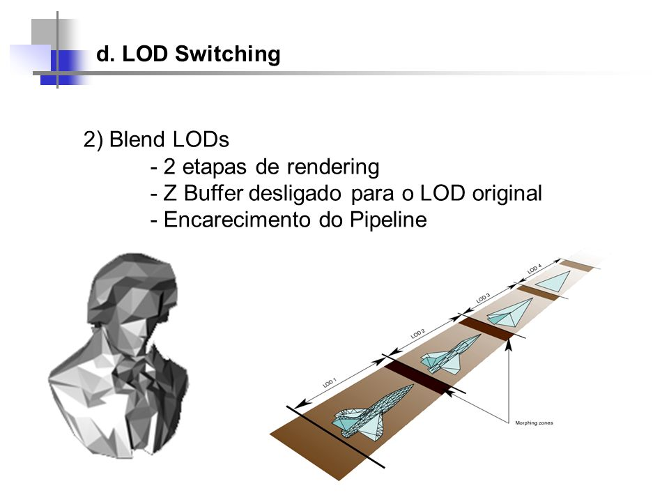 d. LOD Switching 2) Blend LODs. - 2 etapas de rendering. - Z Buffer desligado para o LOD original.