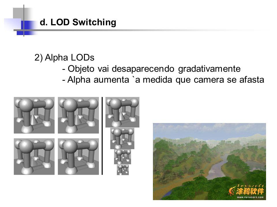 d. LOD Switching 2) Alpha LODs. - Objeto vai desaparecendo gradativamente.