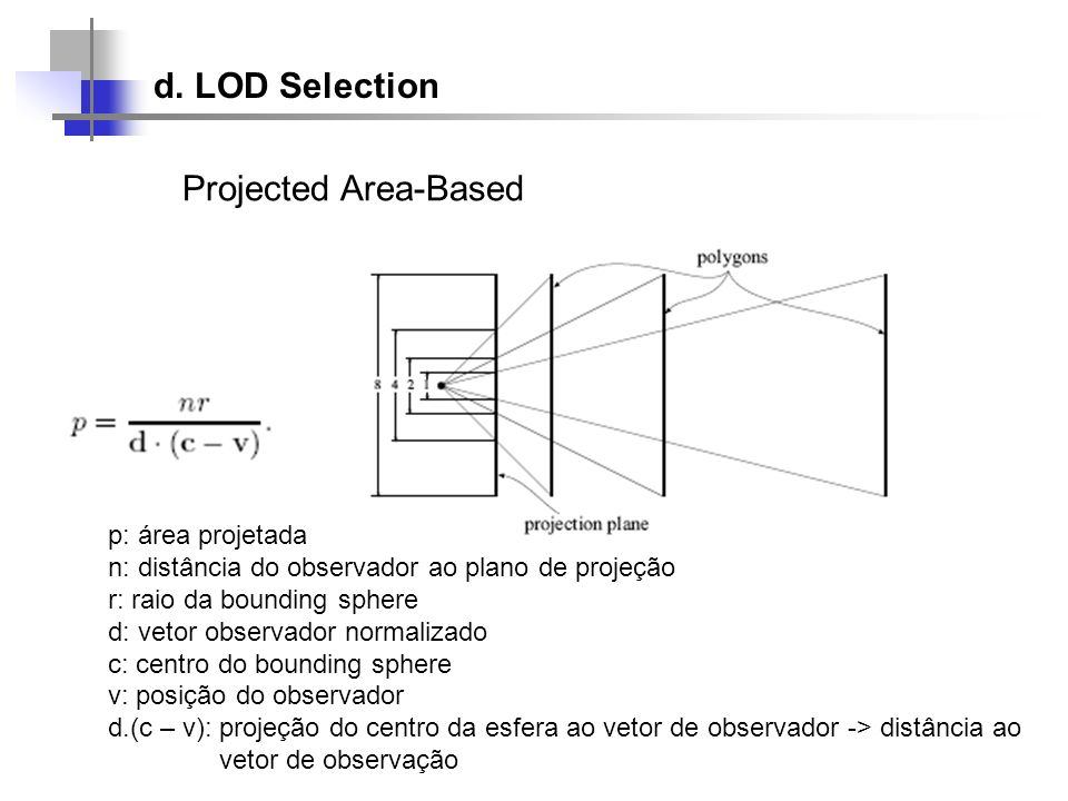 d. LOD Selection Projected Area-Based p: área projetada