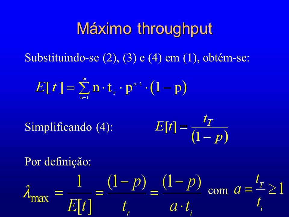 Máximo throughput Substituindo-se (2), (3) e (4) em (1), obtém-se: