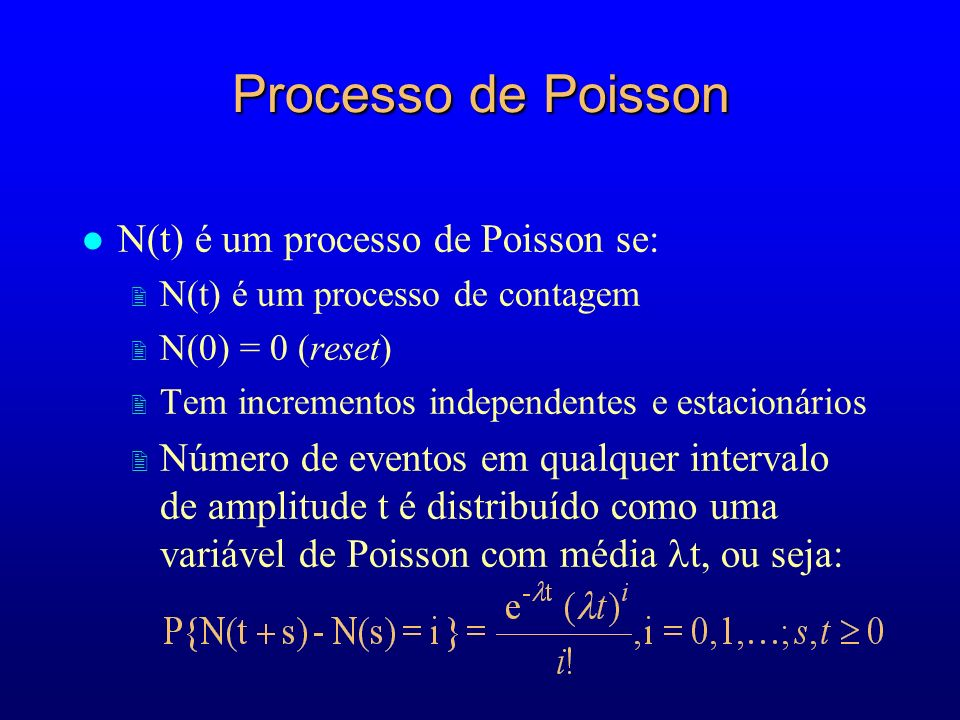 Processo de Poisson N(t) é um processo de Poisson se: