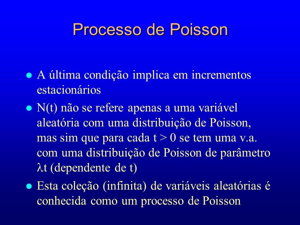Processo de Poisson A última condição implica em incrementos estacionários.