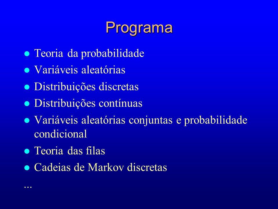 Programa Teoria da probabilidade Variáveis aleatórias