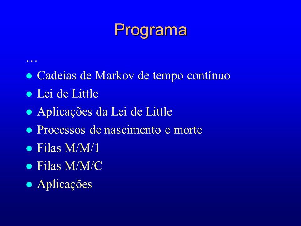 Programa … Cadeias de Markov de tempo contínuo Lei de Little
