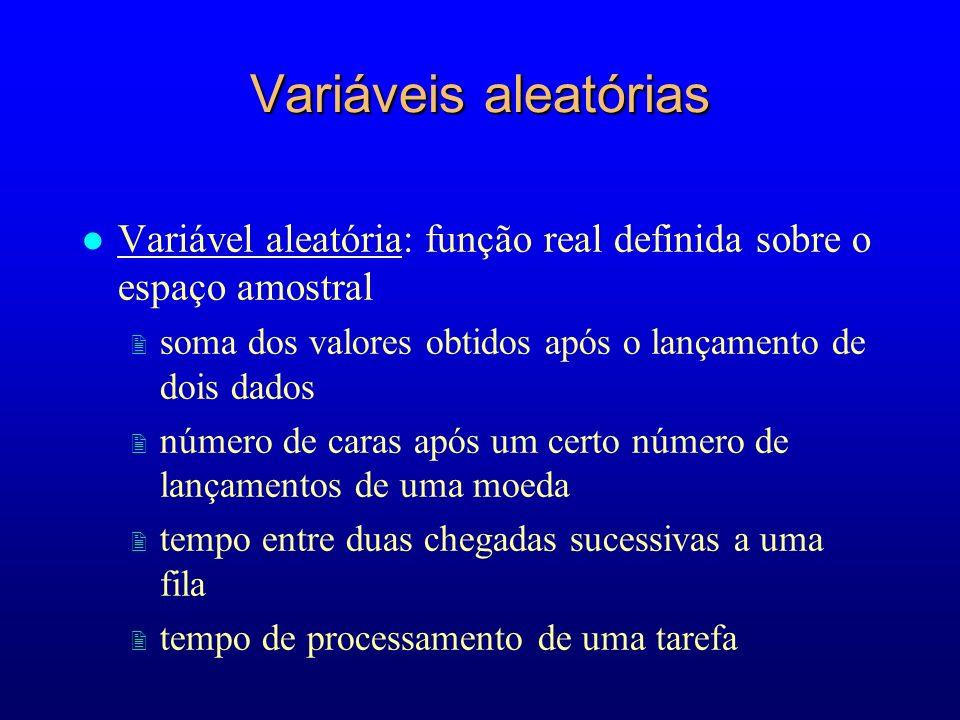 Variáveis aleatórias Variável aleatória: função real definida sobre o espaço amostral. soma dos valores obtidos após o lançamento de dois dados.