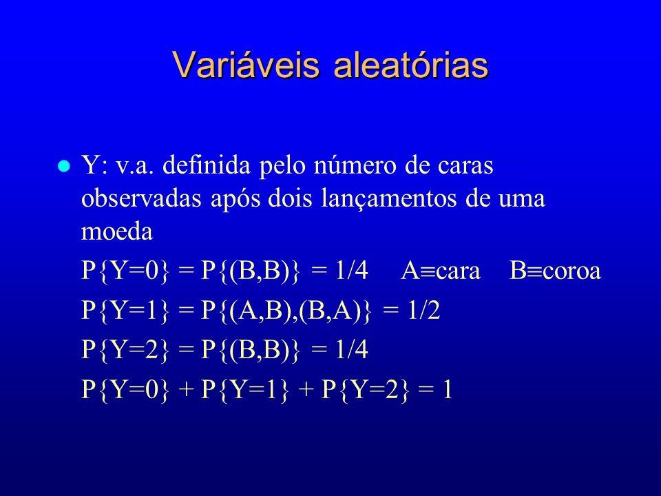 Variáveis aleatórias Y: v.a. definida pelo número de caras observadas após dois lançamentos de uma moeda.