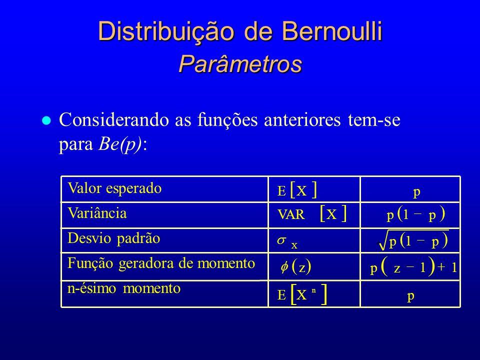 Distribuição de Bernoulli Parâmetros