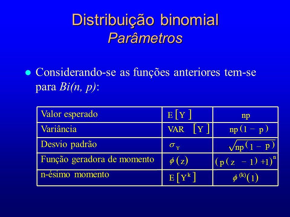 Distribuição binomial Parâmetros