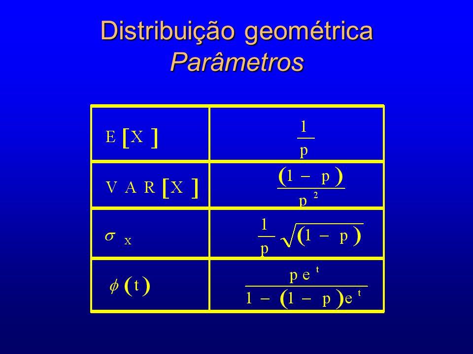 Distribuição geométrica Parâmetros