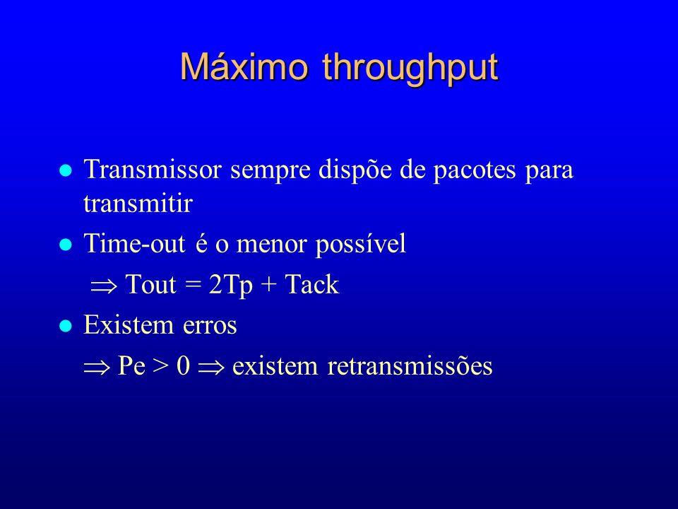 Máximo throughput Transmissor sempre dispõe de pacotes para transmitir