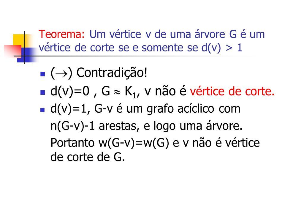 d(v)=0 , G  K1, v não é vértice de corte.
