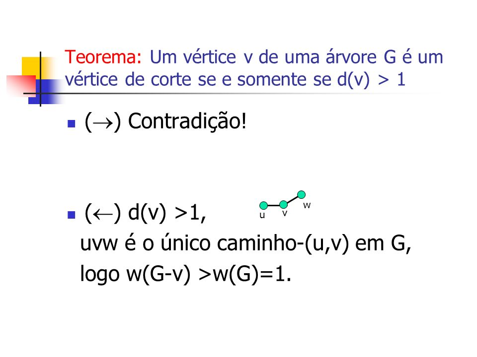 uvw é o único caminho-(u,v) em G, logo w(G-v) >w(G)=1.