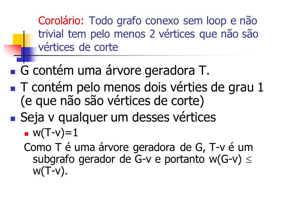 G contém uma árvore geradora T.