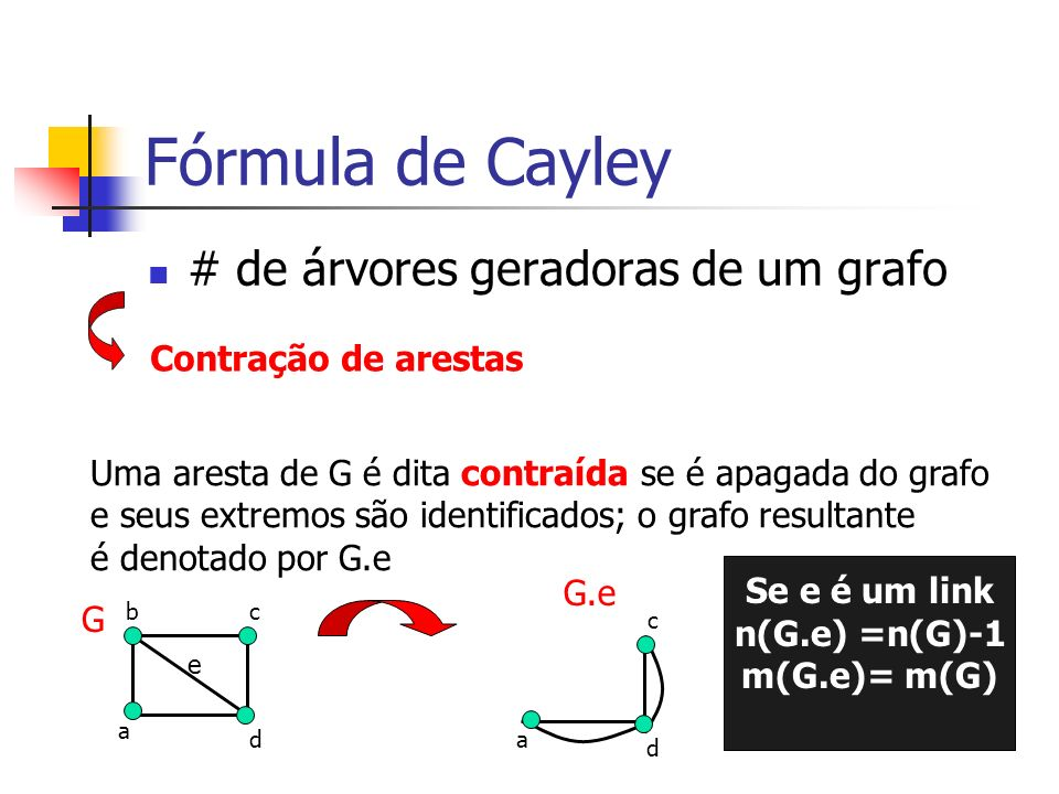 Fórmula de Cayley # de árvores geradoras de um grafo