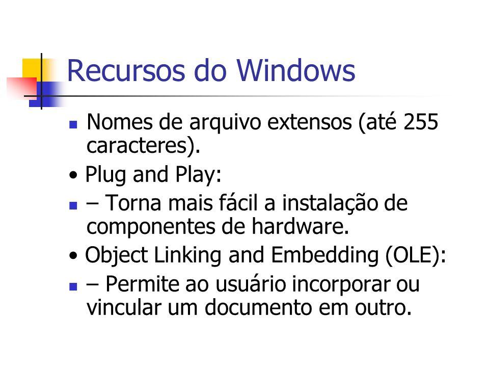 Recursos do Windows Nomes de arquivo extensos (até 255 caracteres).