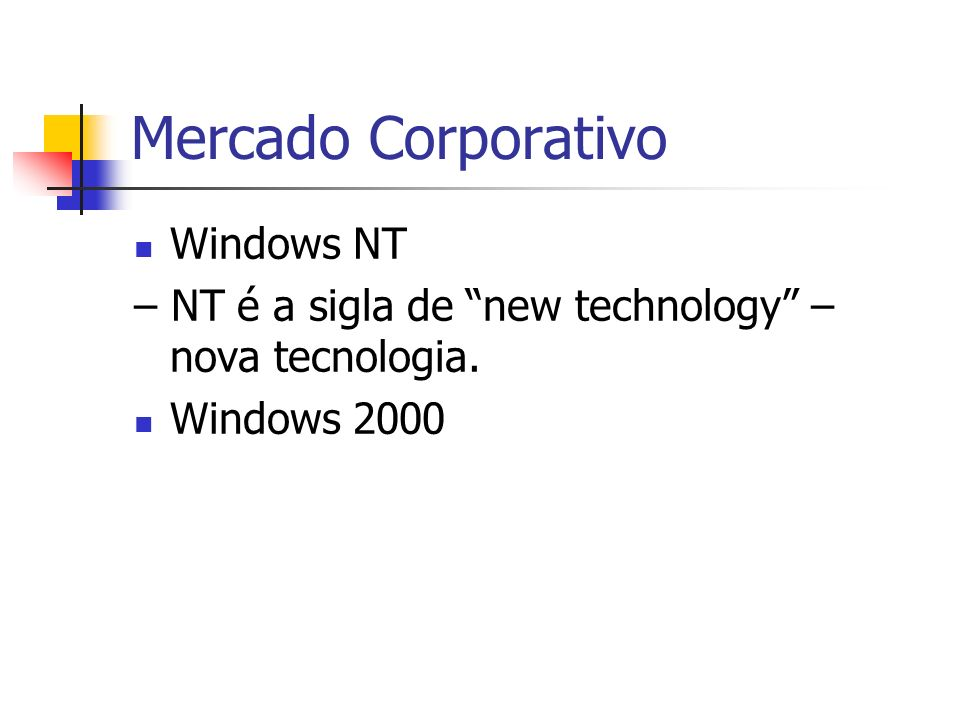 Mercado Corporativo Windows NT