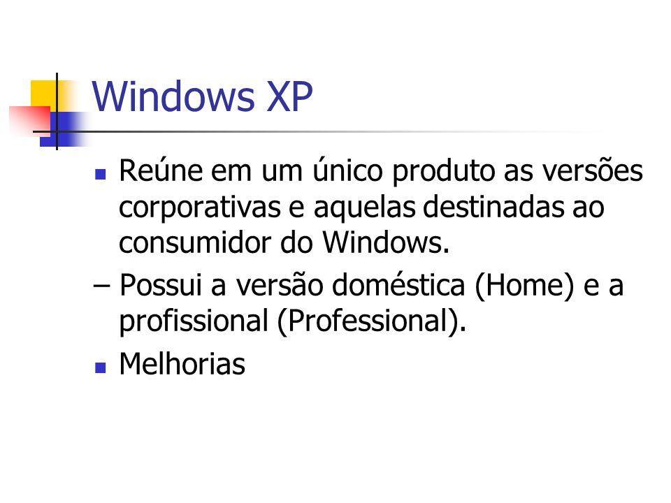 Windows XPReúne em um único produto as versões corporativas e aquelas destinadas ao consumidor do Windows.
