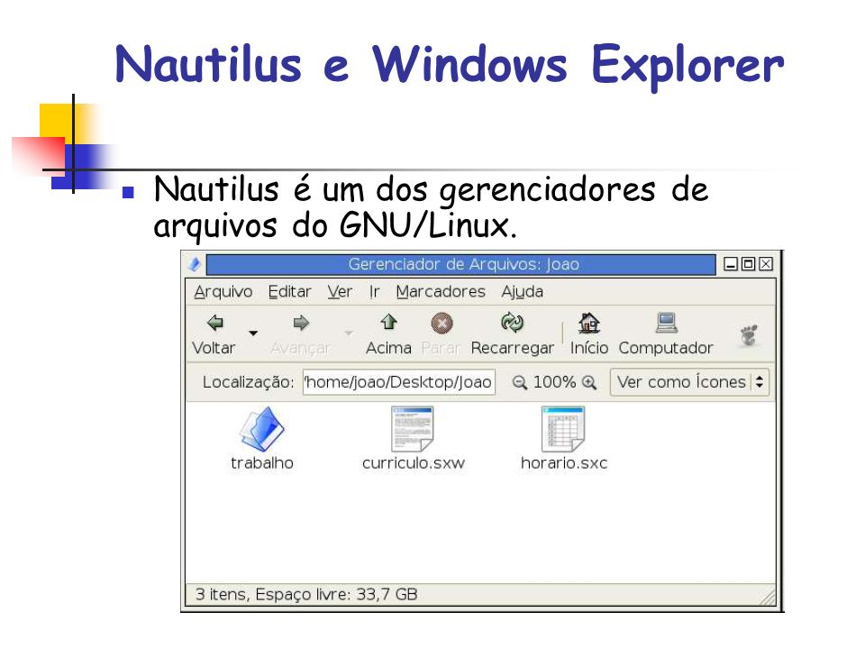 Nautilus e Windows Explorer