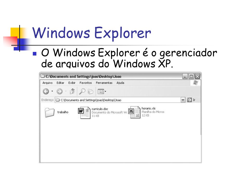 Windows Explorer O Windows Explorer é o gerenciador de arquivos do Windows XP.