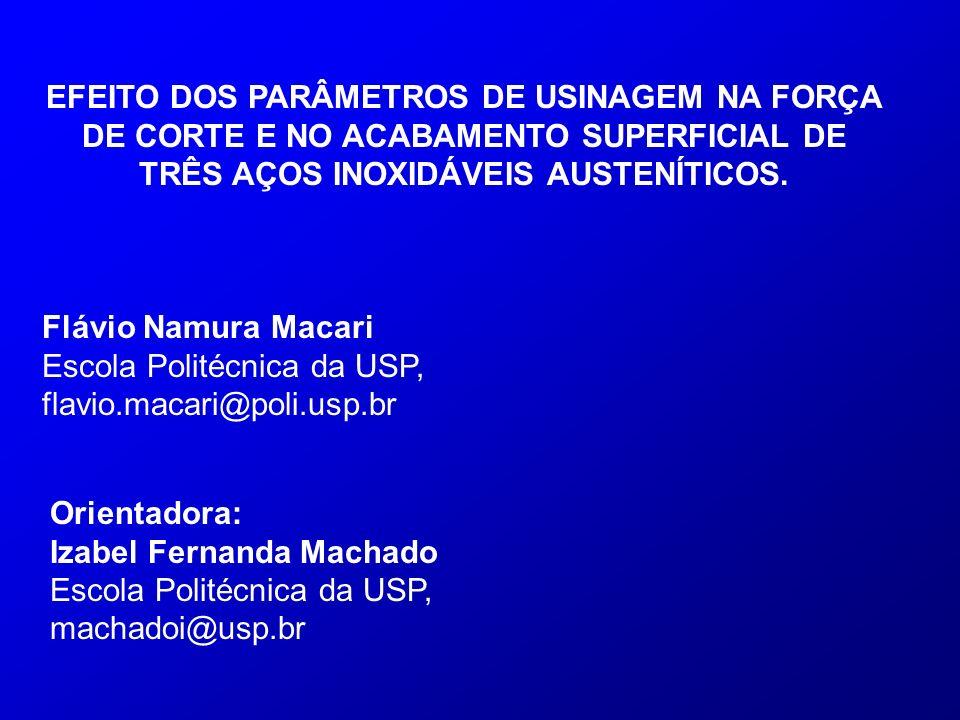EFEITO DOS PARÂMETROS DE USINAGEM NA FORÇA DE CORTE E NO ACABAMENTO SUPERFICIAL DE TRÊS AÇOS INOXIDÁVEIS AUSTENÍTICOS.