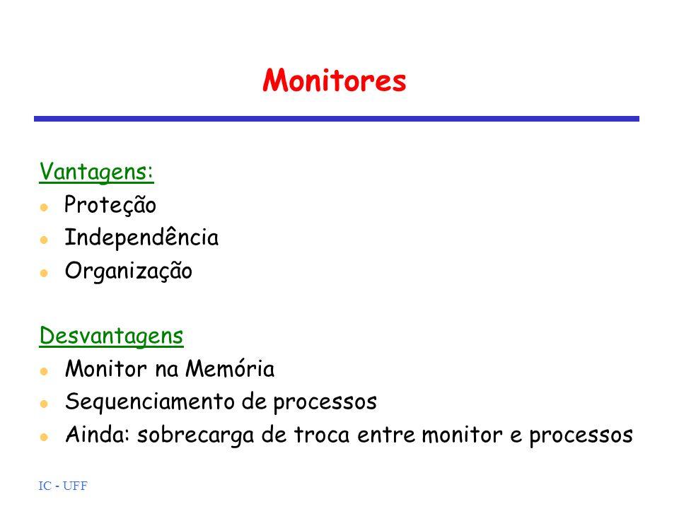 Monitores Vantagens: Proteção Independência Organização Desvantagens