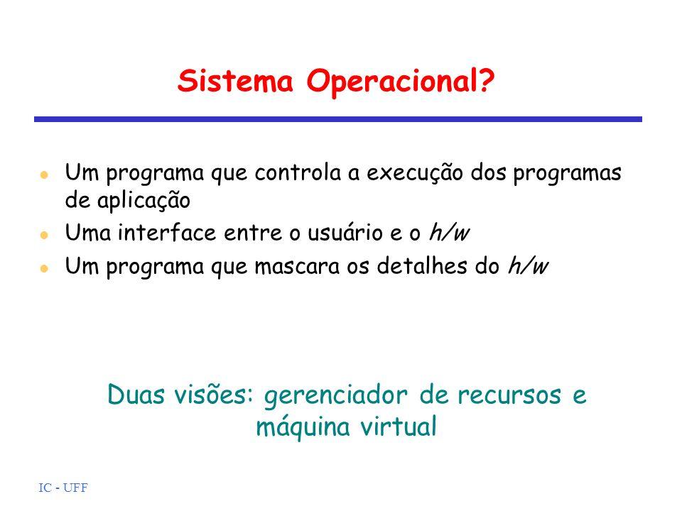 Duas visões: gerenciador de recursos e máquina virtual