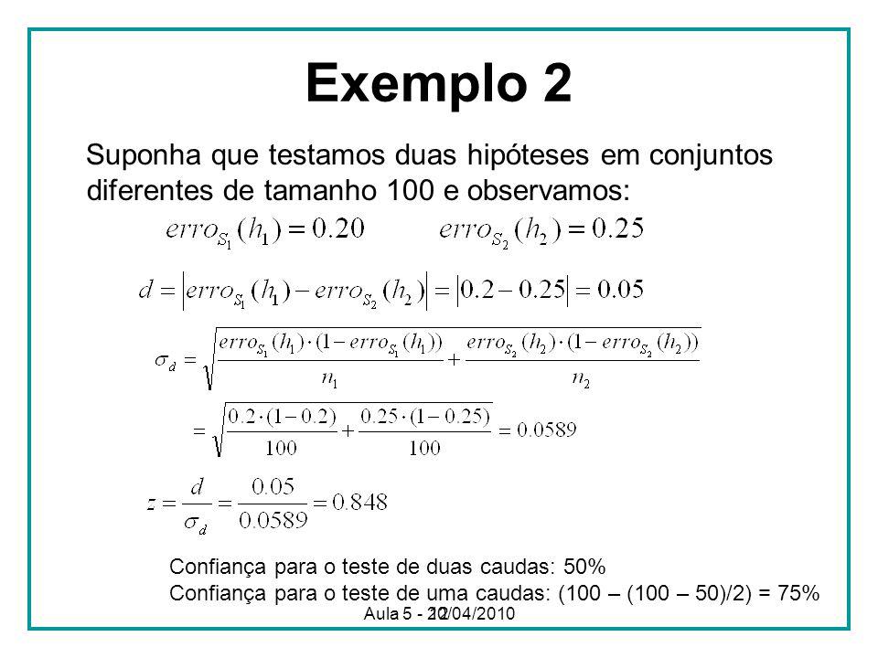 Exemplo 2 Suponha que testamos duas hipóteses em conjuntos diferentes de tamanho 100 e observamos: Confiança para o teste de duas caudas: 50%