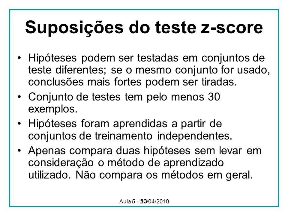 Suposições do teste z-score
