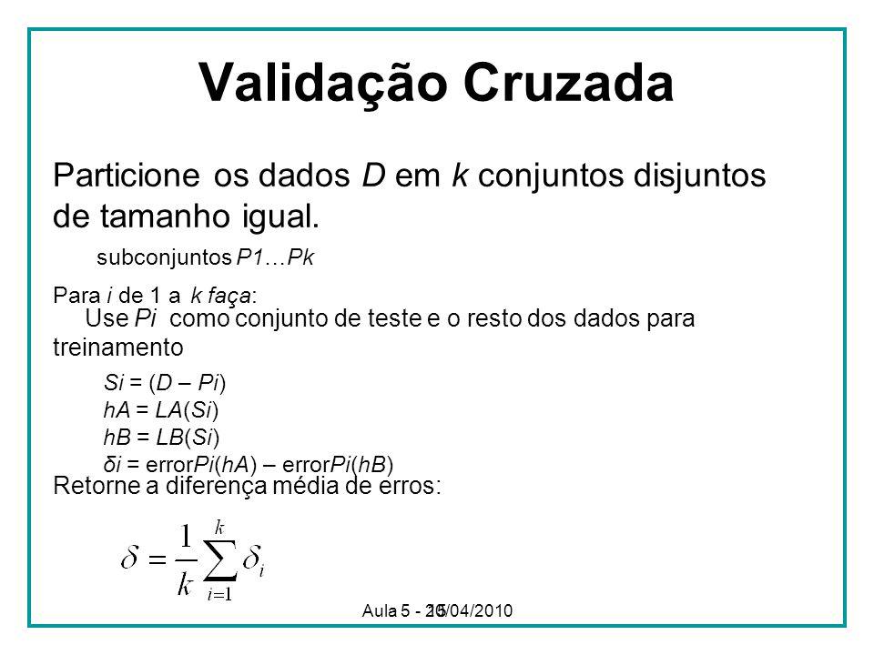 Validação Cruzada Particione os dados D em k conjuntos disjuntos de tamanho igual. subconjuntos P1…Pk.