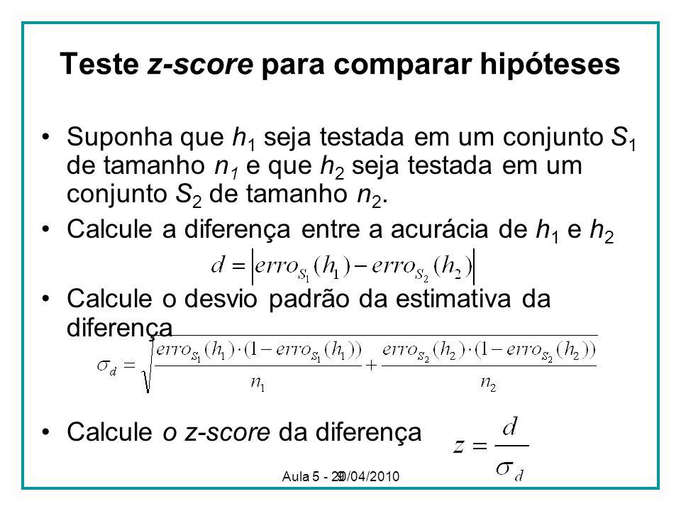 Teste z-score para comparar hipóteses
