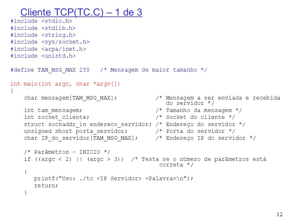 Cliente TCP(TC.C) – 1 de 3 #include <stdio.h>