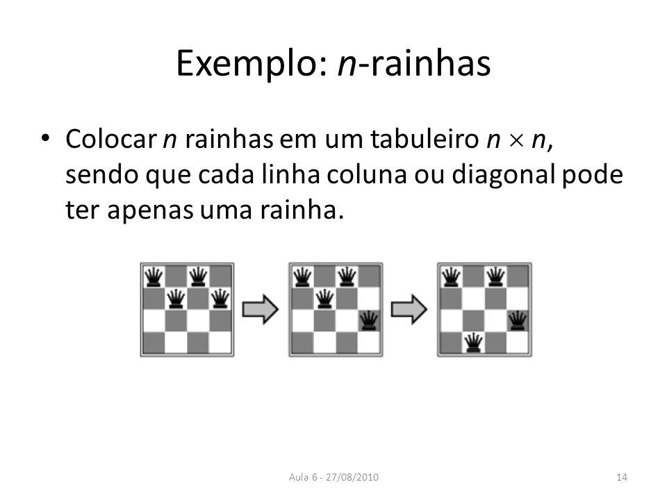 Exemplo: n-rainhas Colocar n rainhas em um tabuleiro n  n, sendo que cada linha coluna ou diagonal pode ter apenas uma rainha.