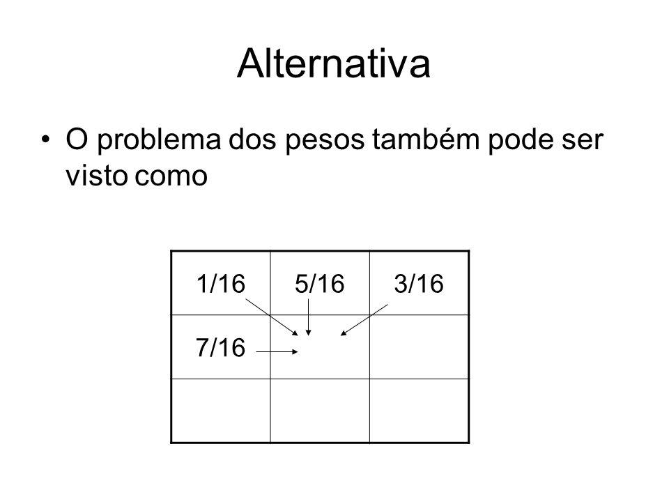Alternativa O problema dos pesos também pode ser visto como 1/16 5/16