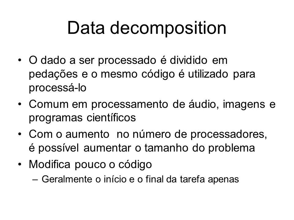 Data decomposition O dado a ser processado é dividido em pedações e o mesmo código é utilizado para processá-lo.