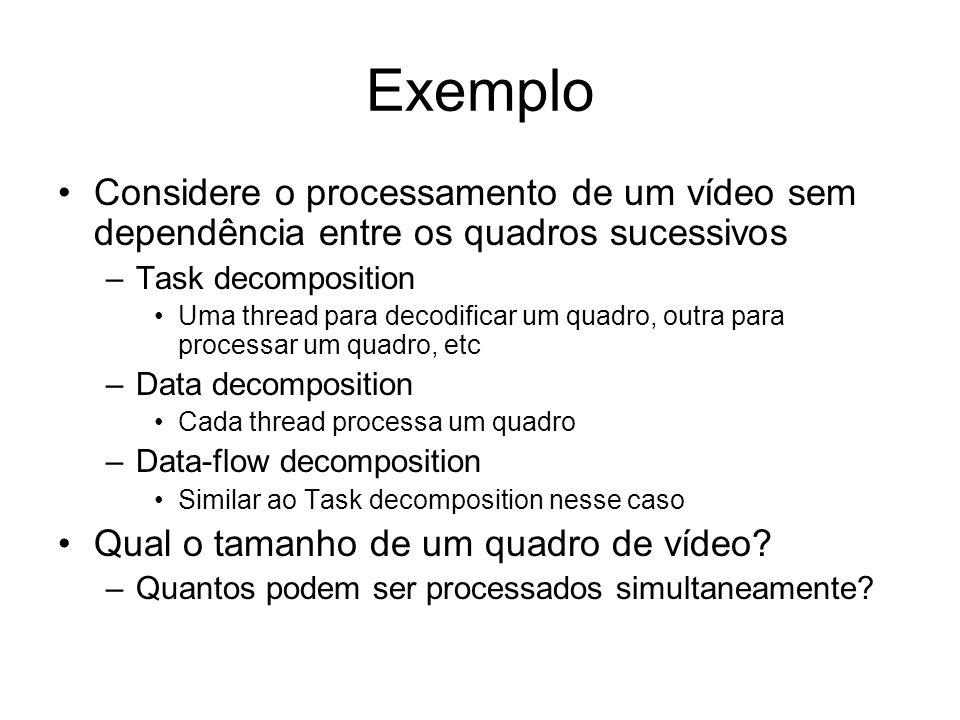 Exemplo Considere o processamento de um vídeo sem dependência entre os quadros sucessivos. Task decomposition.