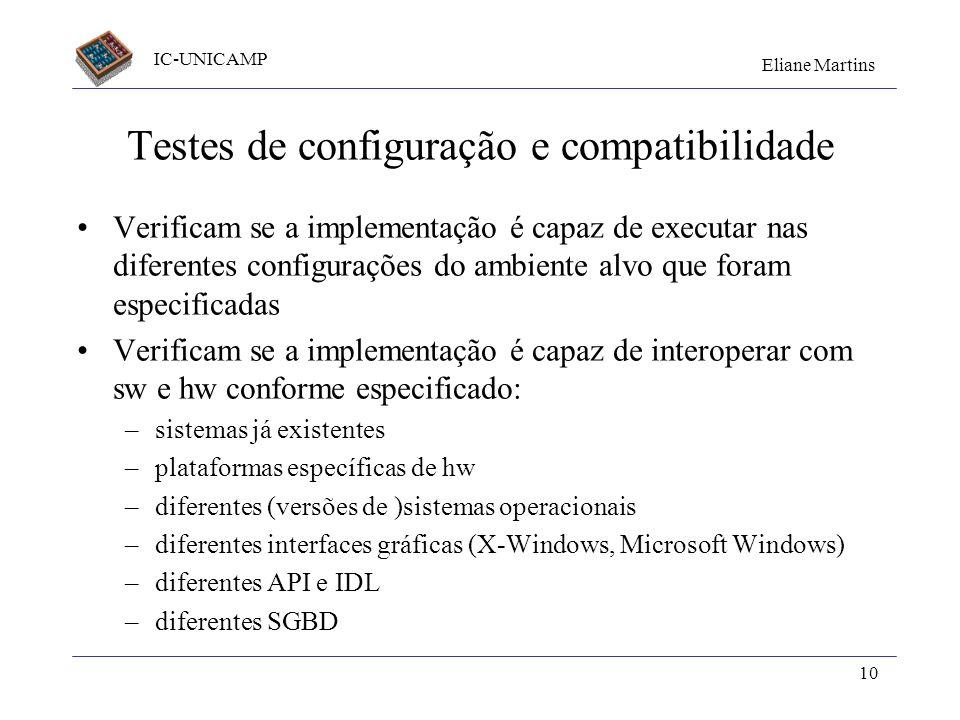 Testes de configuração e compatibilidade