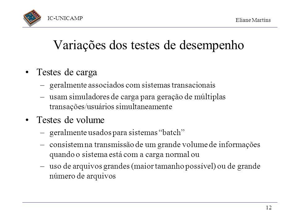 Variações dos testes de desempenho