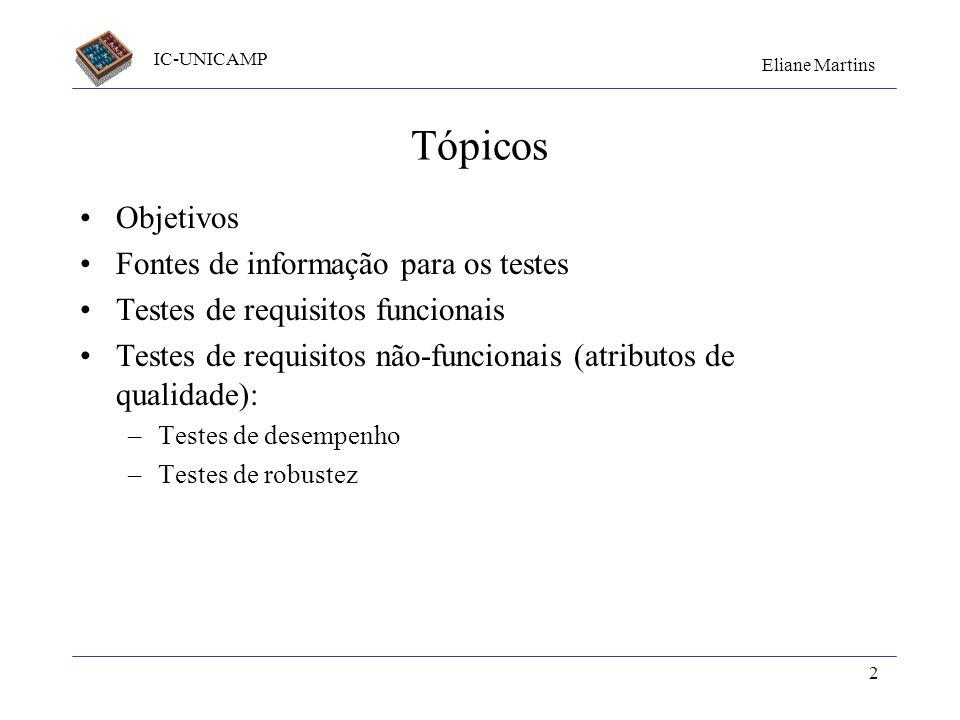 Tópicos Objetivos Fontes de informação para os testes