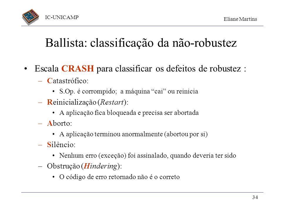 Ballista: classificação da não-robustez