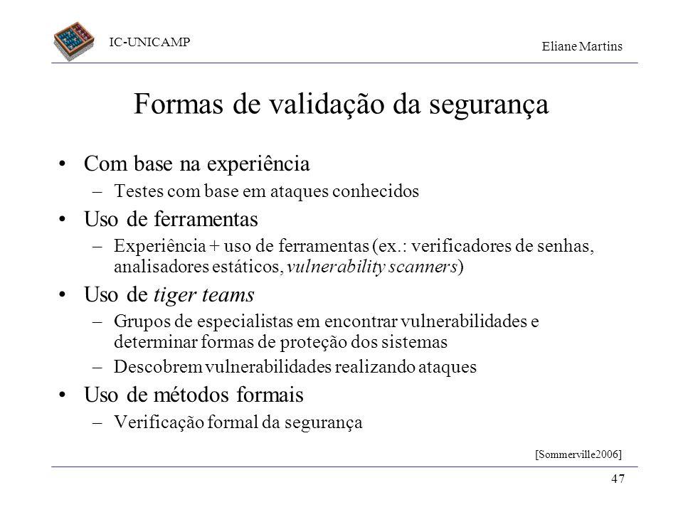 Formas de validação da segurança